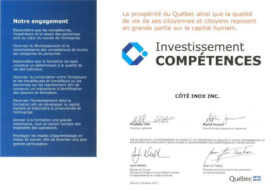 Certificat Investissement Compétences